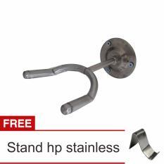 Lanjarjaya Stainless Steel Stand Gitar Dinding / Stand Gitar Gantung + Stand Hp Stainless