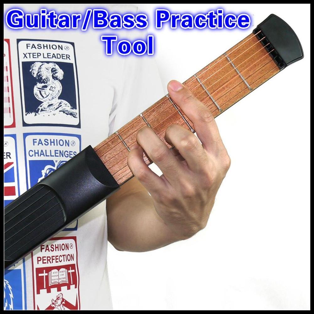 Gitar Saku Portable Pocket Akustik Alat Latihan Gitar Gadget Chord Trainer 6 String 6 Resah Model untuk Pemula-Intl