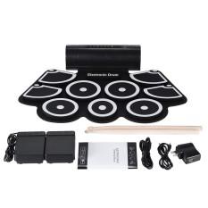 Portable Electronic Roll Up Drum Pad Set 9 Bantalan Silikon Speaker Built-In dengan Stik Drum Pedal Kaki USB 3.5mm Audio Kabel-Intl