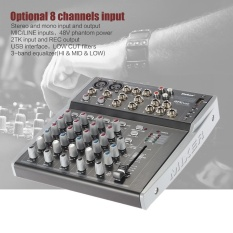 Professional 8 Channels 3-Band EQ Audio Music Mixer Mixing Console with USB XLR LINE Input 48V Phantom Power for Recording DJ Stage - intl