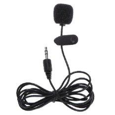 Mikrofon profesional plastik hitam tahan lama klip pada mikrofon Mini 3,5 mm Plug untuk