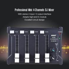 Profesional Mini Pocket 4-Channel Mono Stereo Audio Suara DJ Mixer USB Didukung BT Menghubungkan Ponsel Hitam- INTL