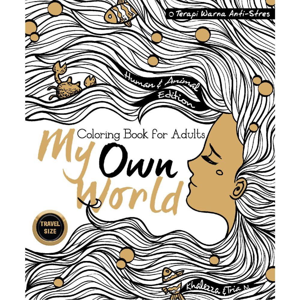 Renebook - My Own World Edisi Human & Animal: Coloring Book for Adults (Travel Size) - Soft Cover
