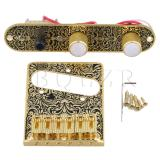 Review Tentang Tremolo Bridge 3 Way Wired Control Plate W Switch Knobs Gold Black Intl