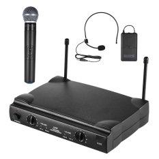 UHF Dual Saluran Mikrofon Nirkabel Mic Sistem dengan 1 Pemancar Bodypack 1 Headset dan 1 Mikrofon Genggam Receiver 6.35mm Kabel Audio-Intl