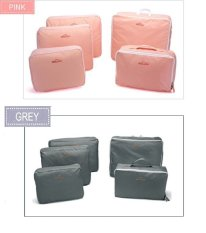 Bags In Bag Travel Set 5 In 1 Duo Package Pink Grey Bags In Bag Diskon 30