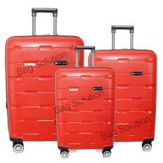 Diskon Navy Club Tas Koper Set Hardcase Fiber Pp 4 Roda Resleting Anti Tusuk Kunci Tsa 8008 Size 20 24 28 Merah Branded