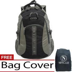Navy Club Tas Ransel Kasual Tas Punggung - Tas Pria Tas Wanita - 6262 Backpack Daypack Bonus Bag Cover - Hitam