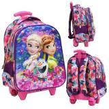 Onlan Disney Frozen 5D Timbul Glow Tas Trolley Anak Sekolah Tk New Arrival Import Ungu Asli