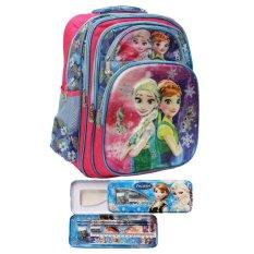 Jual Onlan Disney Frozen Fever 5D Timbul Glow Tas Ransel Ukuran Besar 5 Resleting Dan Kotak Pensil Set Import Biru Pink Dki Jakarta