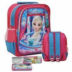 Onlan Tas Ransel Sekolah Ukuran Anak TK dan Kotak Pensil Set- Pink