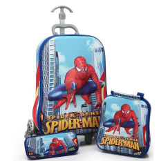 Onlan Marvel Spiderman 3D Timbul Trolley Anak 3in1 Set 6 Roda Gagang Samurai - Biru