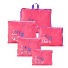 Harga Hemat Tokobagusindo 5 In 1 Korean Waterproof Travel Bag Organizer 2Nd Generation Pink