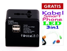 Review Universal Travel Adapter With Dual Usb Port Hitam Free Kabel 3In1 Universal Di Dki Jakarta