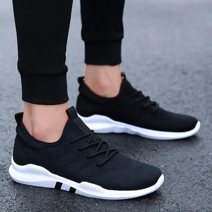 BK Sepatu Kets Sneaker Wanita Pria GTX - Sepatu Sekolah Hitam Abu 3fe735d25e