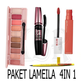 KSR- (COD) Paket Makeup Kosmetik Murah - Eyeshadow Eye Shadow Lameila + Eyeliner Eye Liner Spidol Maybelline + Maskara anti air dan tahan lama Maybelline Mascara Maybeline + Lipstik Lip Cream Mate Ink thumbnail