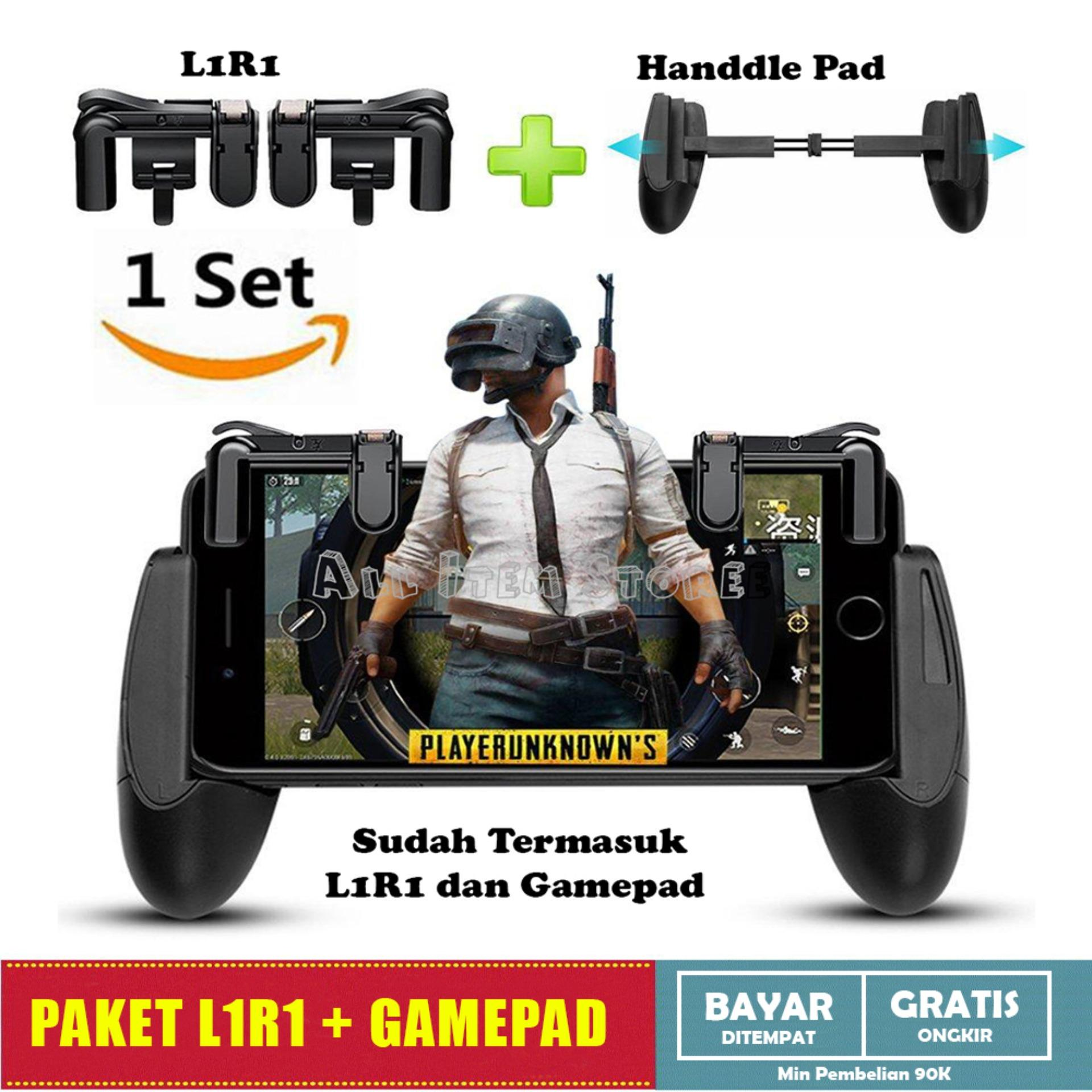 Paket 1 Set Button L1R1 Shooter + Gampad PUBG Mobile Joystick Rule Of Survival Free Fire - Hitam