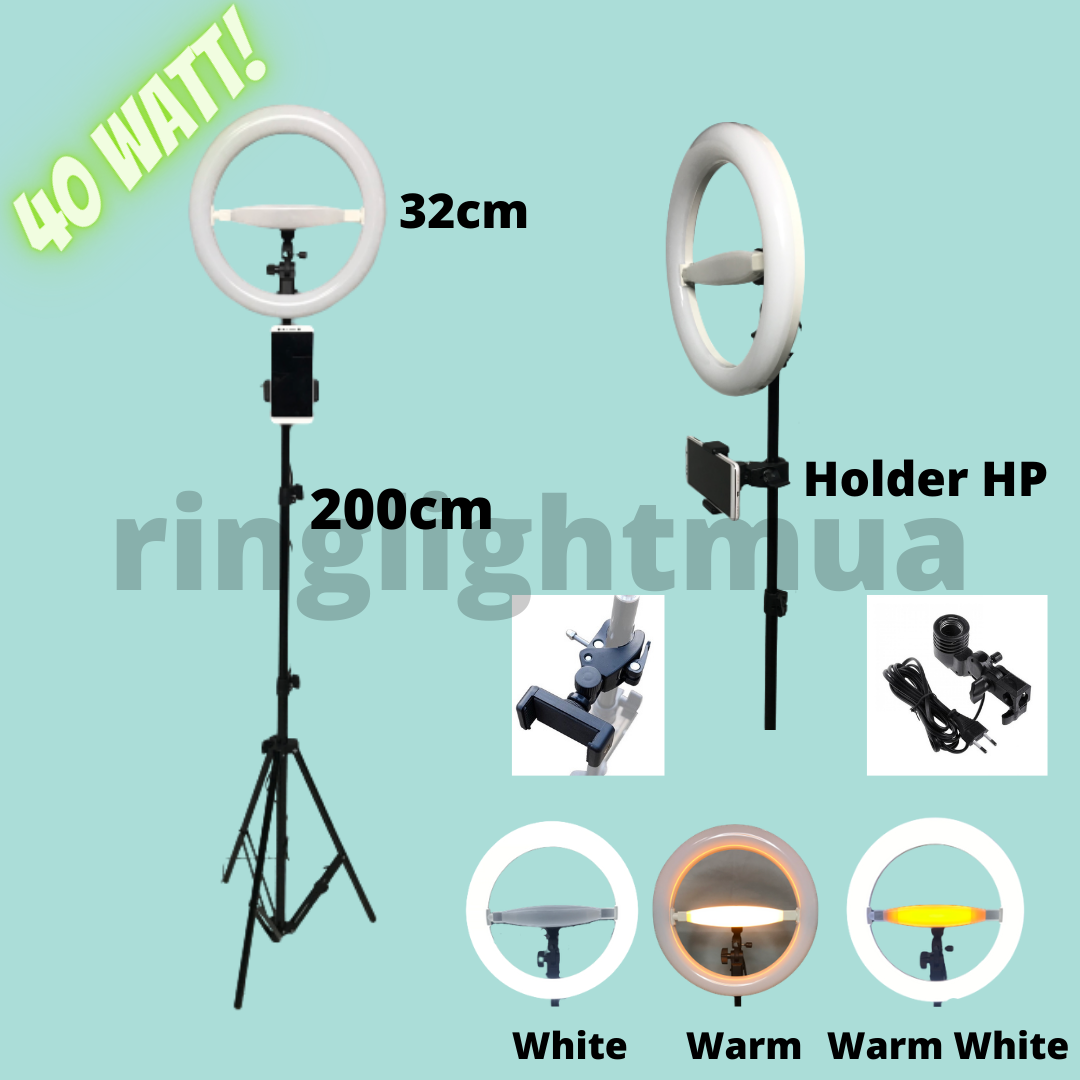 RING LIGHT BESAR SET LED 32CM 40 WATT + TRIPOD 200CM HOLDER HANDPHONE