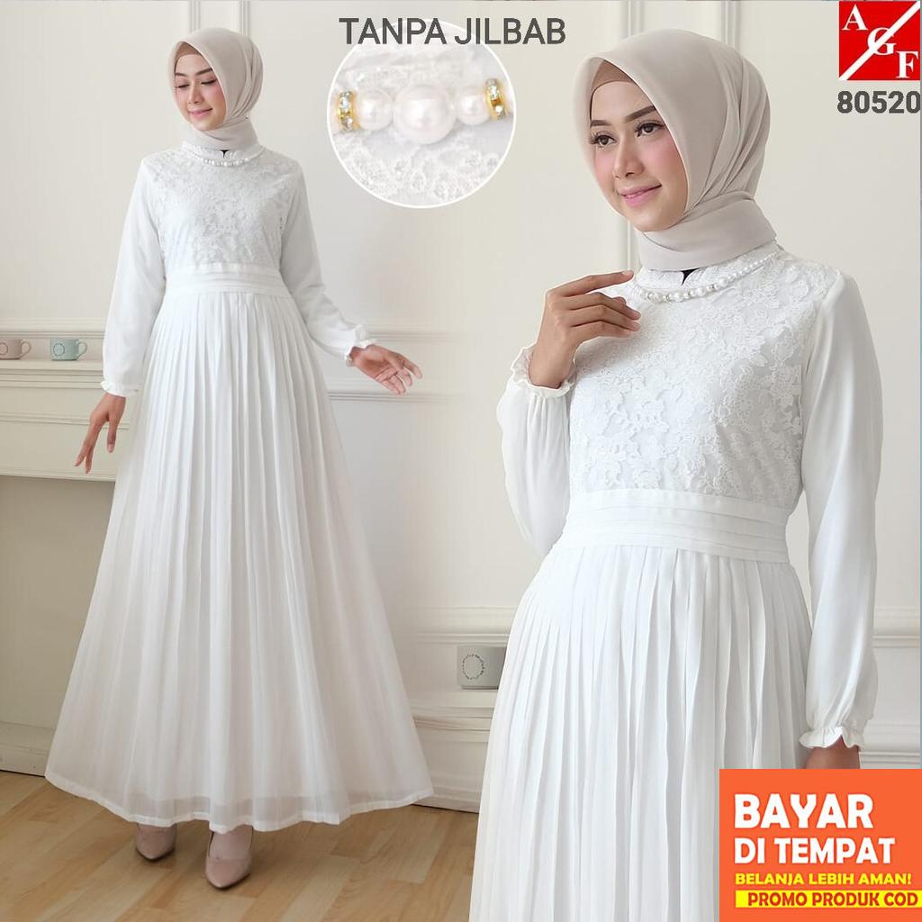 AGNES Baju Gamis Putih Wanita Brukat Gamis Plisket Baju Lebaran Umroh Haji Busana Muslim Wanita 80520