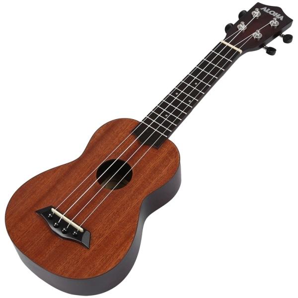 ALOHA 21 Inch Ukulele Beginner Soprano Ukulele Sapele Wood 4 Strings Guitar Mahogany Neck Delicate Tuning Peg Malaysia