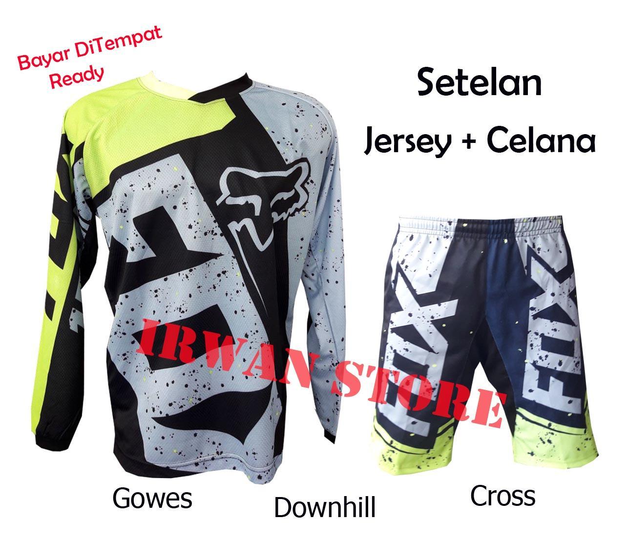 Setelan Baju Jersey Sepeda Downhill cross FZ02 Lengan Panjang Dewasa
