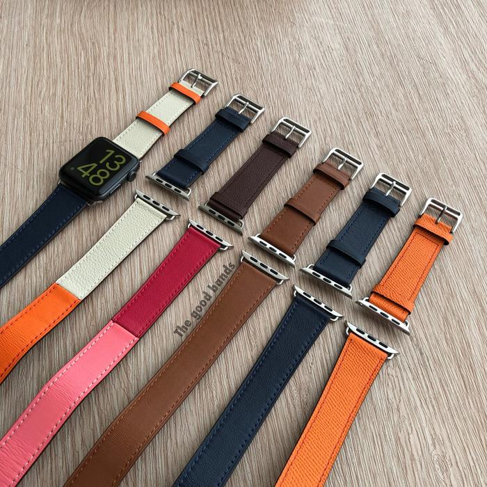 Strap Apple Watch Series 5 Tali Hermes Double Leather Kulit 40mm 44mm