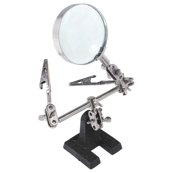 Easy-carrying Helping Third Hand Tool Soldering Stand with 5X Magnifying Glass 2 Alligator Clips 360 Degree Rotating Adjustable Locking Arms For Glass Loupe Selected
