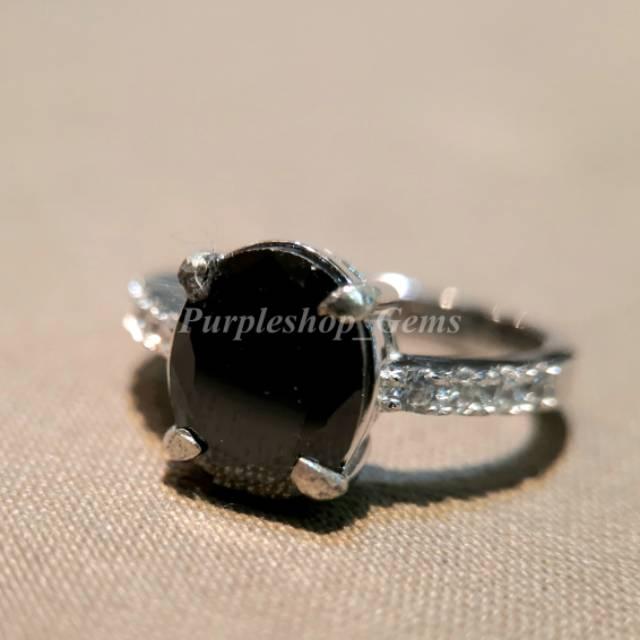 cincin wanita batu black onyx asli natural ring silver lapis perak mewah perhiasan aksesoris murah