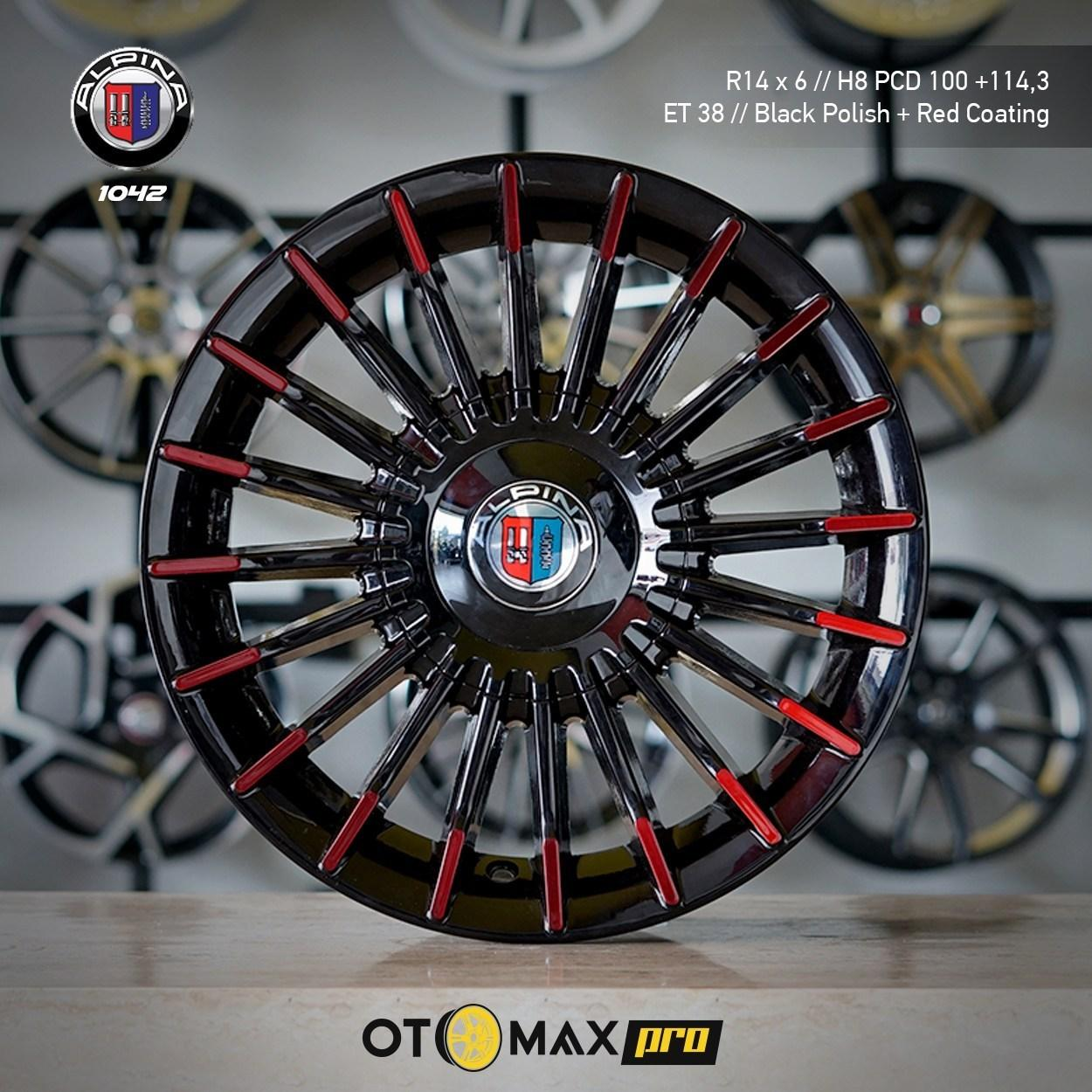 Velg Mobil Alpina 1042 Ring 14 Black Polish+Red Coating