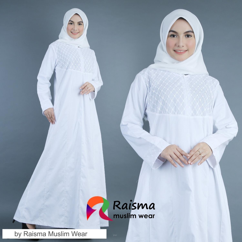 Baju Gamis Wanita Warna Putih / Gamis Warna Putih / Gamis Putih remaja /  Gamis Untuk Umroh / Gamis Polos Warna Putih / Gamis Putih Cubit / GKCP8