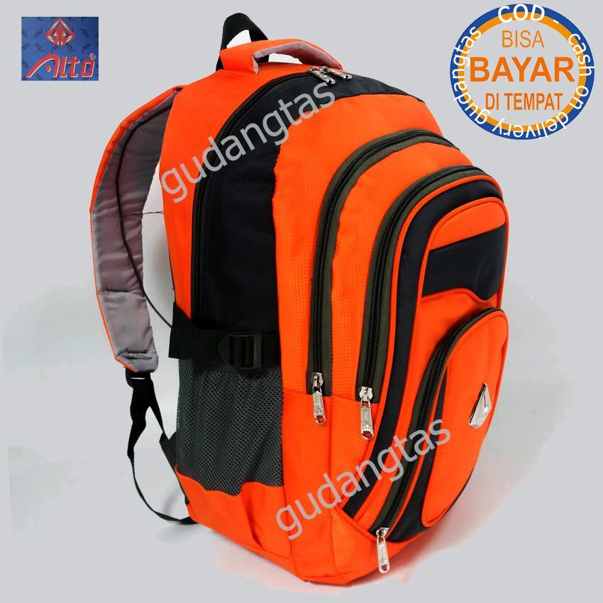 Alto Super Tas Sekolah Tas Kuliah Tas Travelling 76581 Ransel Laptop  ORANGE  + Raincover
