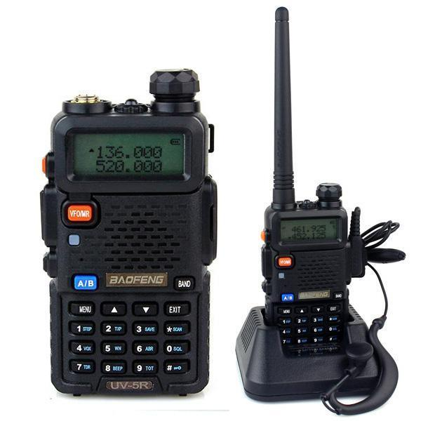 Dozn Baofeng Uv5r Radio Walkie Handy Talkie - 1.5 Lcd 5w 128-Ch Dual Band Uhf/vhf Headset Free - Hitam By Dozn Wardrobe.