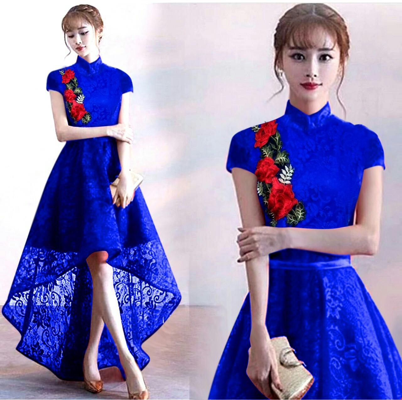 S-Fashion Lily Dress Wanita Gaun Pesta Brukat Lengan Pendek Shanghai Style Trendy