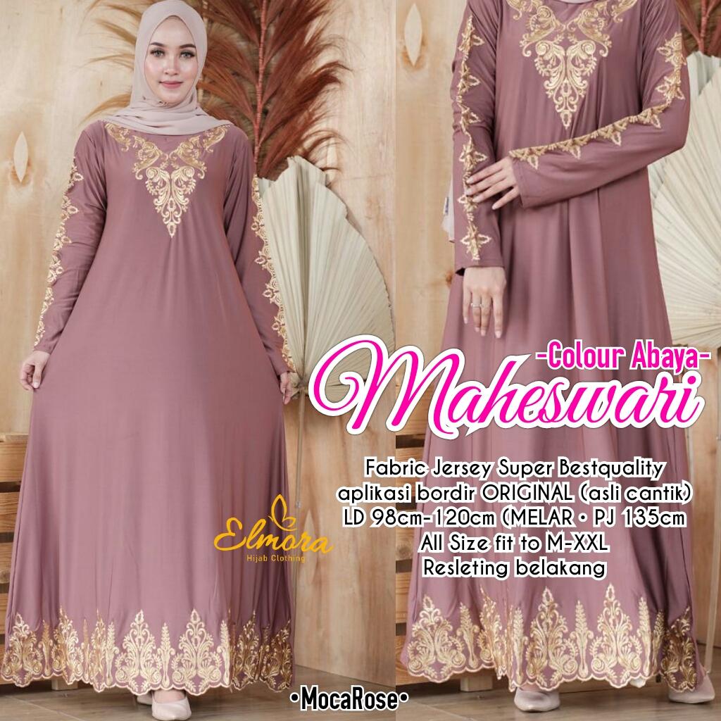 Maheswari Colour Abaya Jersey Super HQModel Baju Abaya Modern Model Abaya  Batik Kombinasi PolosAbaya Hitam Arab Abaya Hitam remaja Abaya Hitam