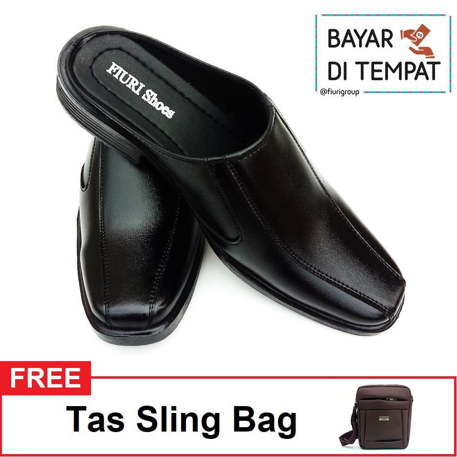 FIURI BJ6 - Sepatu Pantofel Pria Selop Polos Bonus Sling Bag Lucky Duck - Sepatu Formal Pria Slop Polos - Sepatu Kerja Pria Slop Polos