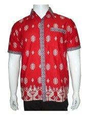 Harga Batik Solo Bo4012 Kemeja Batik Pria Motif Lurik Merah Online Indonesia