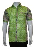 Spesifikasi Batik Solo Bo4014 Kemeja Batik Motif Kawung Kombinasi Hijau Yang Bagus