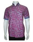 Harga Batik Solo Bo4016 Kemeja Batik Pria Motif Daun Ungu New