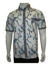 Jual Batik Solo Bo4015 Kemeja Batik Motif Akar Putih Di Bawah Harga