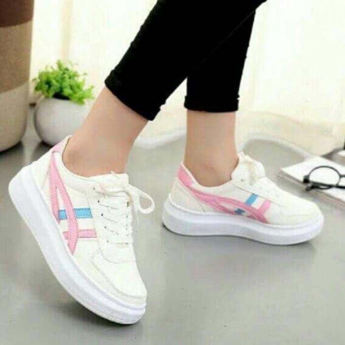 Sepatu Wanita Kets Sneakers Casual SDS199 - BIRU PINK, 36   Bisa bayar ditempat