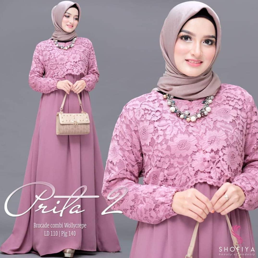 ST Prita Maxi vol.2 Dress Moscrepe mix Brukat Baju Wanita Muslim Panjang  Kekinian Long eacaa397d8