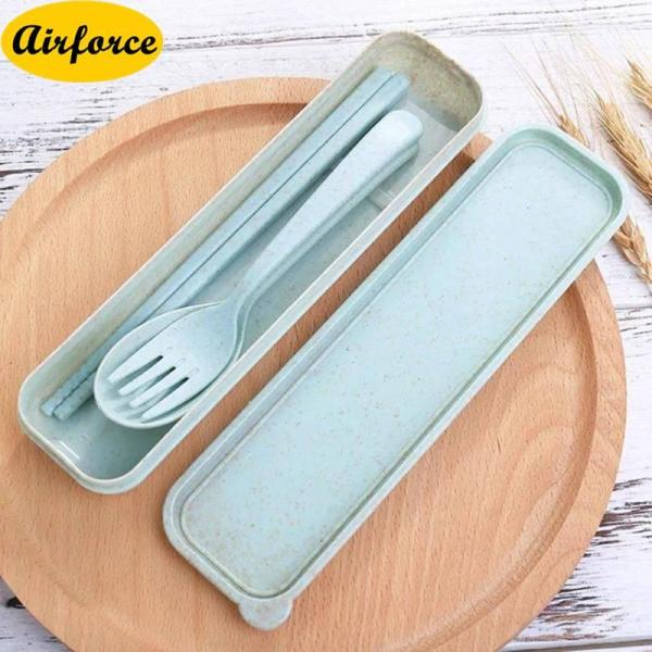 Airforce 3 in 1 Spoon Fork Chinese Chopstick Set With Organizer Box tableware set Design