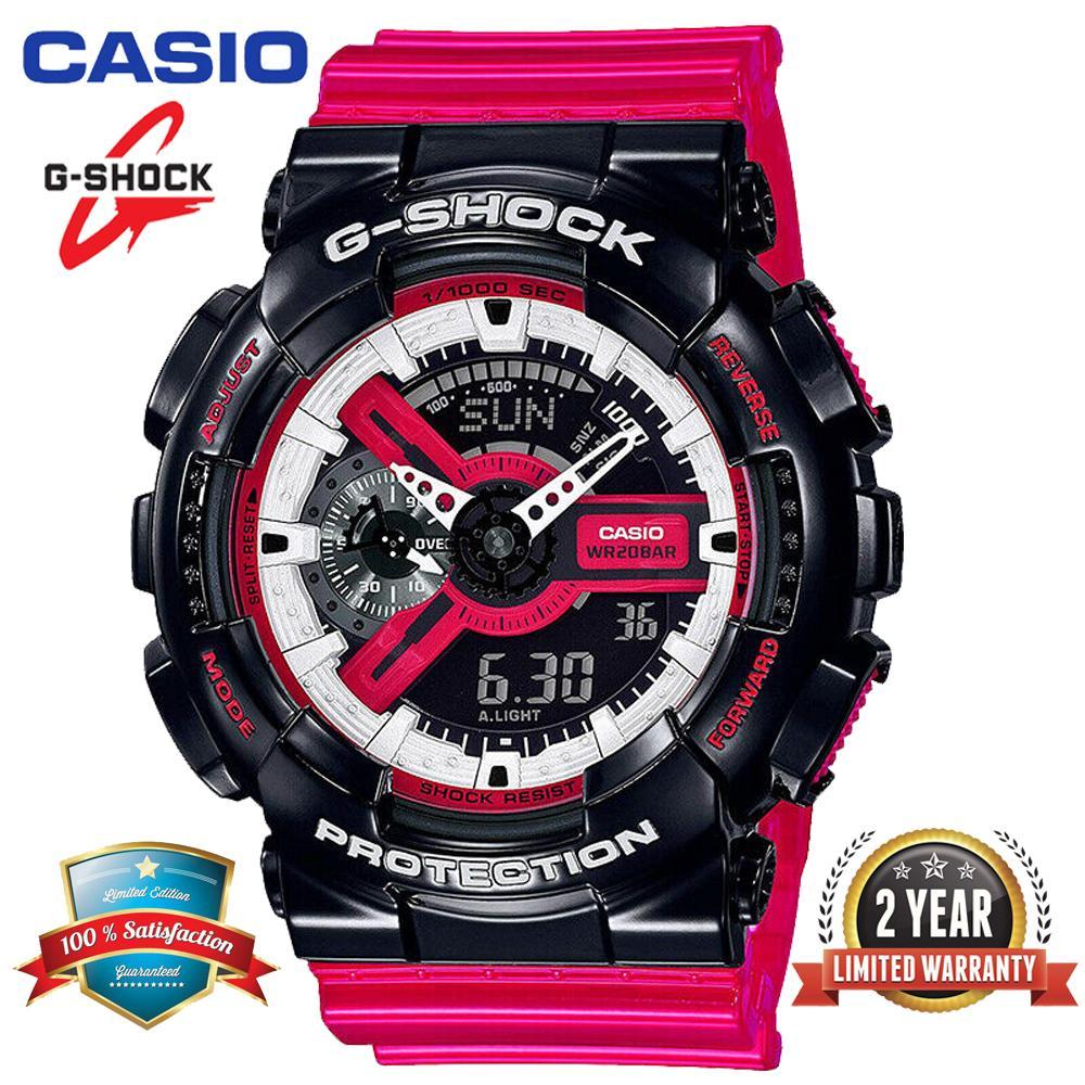 Asli G-Shock GA110 Jam Tangan Olahraga Pria Tampilan Ganda 200M Tahan Air Shockproof dan Waterproof Waktu Dunia LED Lampu Otomatis dengan Garansi 2 Tahun GA-110RB-1A (Persediaan)
