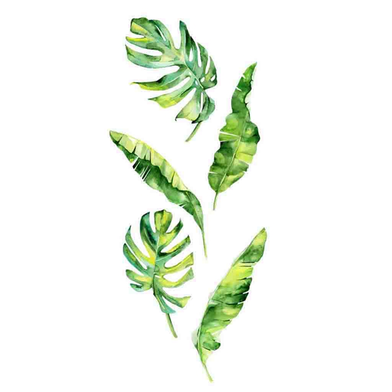 Summer Tropical Green Plants Leaves Wall Sticker Vinyl Decals Home Decorations Wall Stickers for Kids Rooms Decals