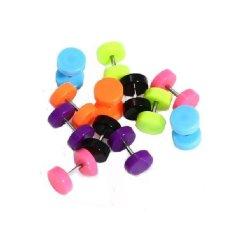 12 Pcs Pair Acrylic Fake Cheater Ear Stud Plug Anting Acak Barbel Charm Eardrop Fashion Round