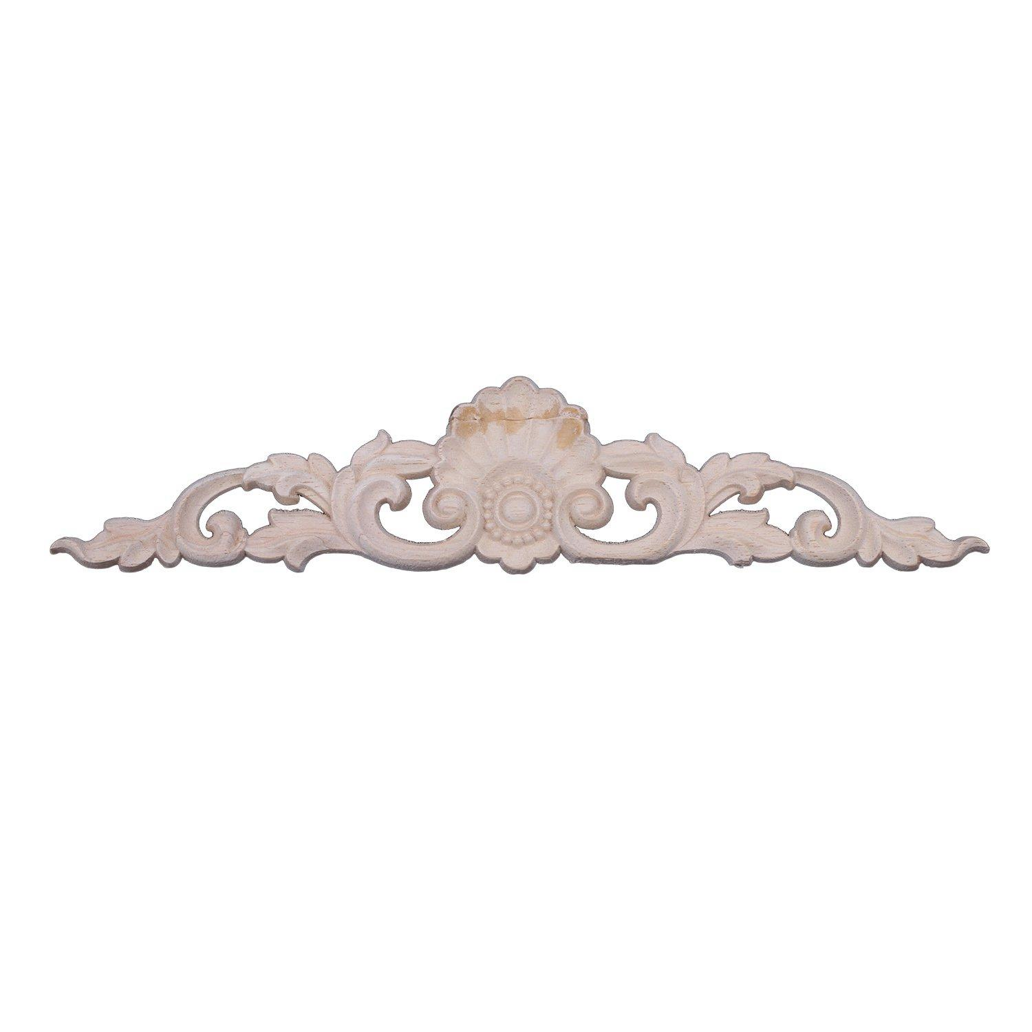 New 1pcs Rubber Wood Carved Corner Onlay Applique Furniture Home Decor(30*7cm) By Ertic.
