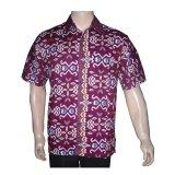 Beli Batik Solo Bo5003 Kemeja Batik Pria Motif Lurik Ungu Murah