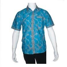 Review Batik Solo Bo5004 Kemeja Batik Pria Motif Akar Biru Batik Solo