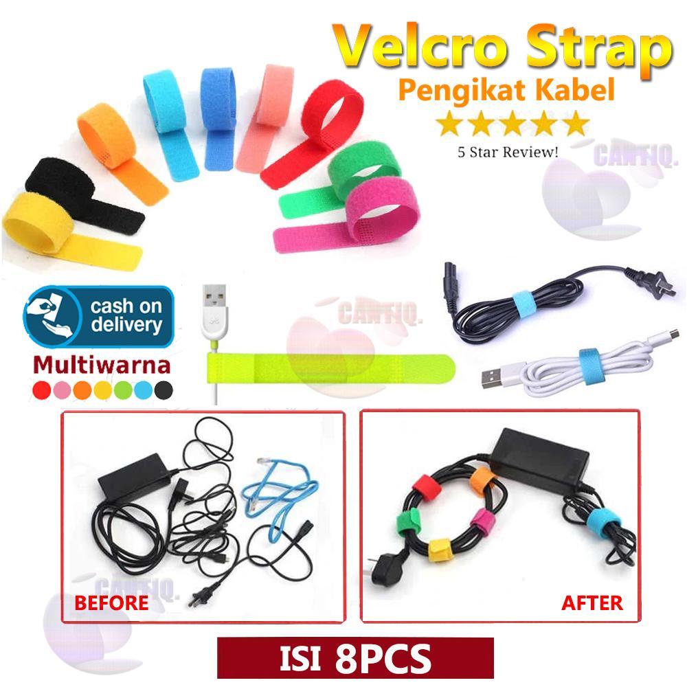 Velcro Strap Pengikat Kabel / Klip Kabel / Penggulung Kabel / Pengikat Kabel Charger / Cable Winder / Cord Ties / Cord Holder- Isi 8 Pcs WARNA ACAK