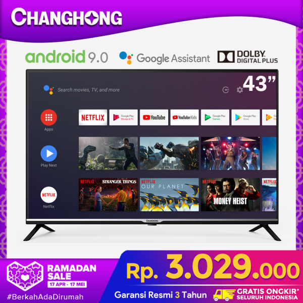 CHANGHONG 43 Inch Netflix Google Certified Android 9.0 (Model : L43H4)